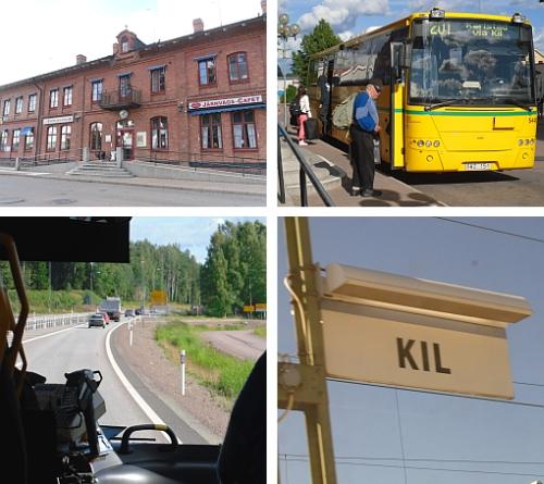 Buss och järnvägsstationen i Kil