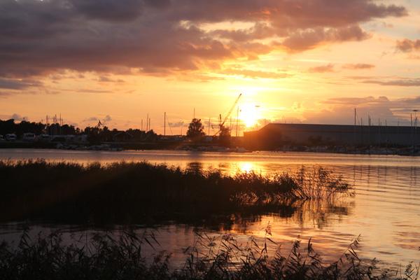 Solnedgång i Mariestad