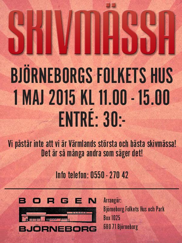 Skivmässa i värmländska Björneborgs Folkets Hus 1 maj